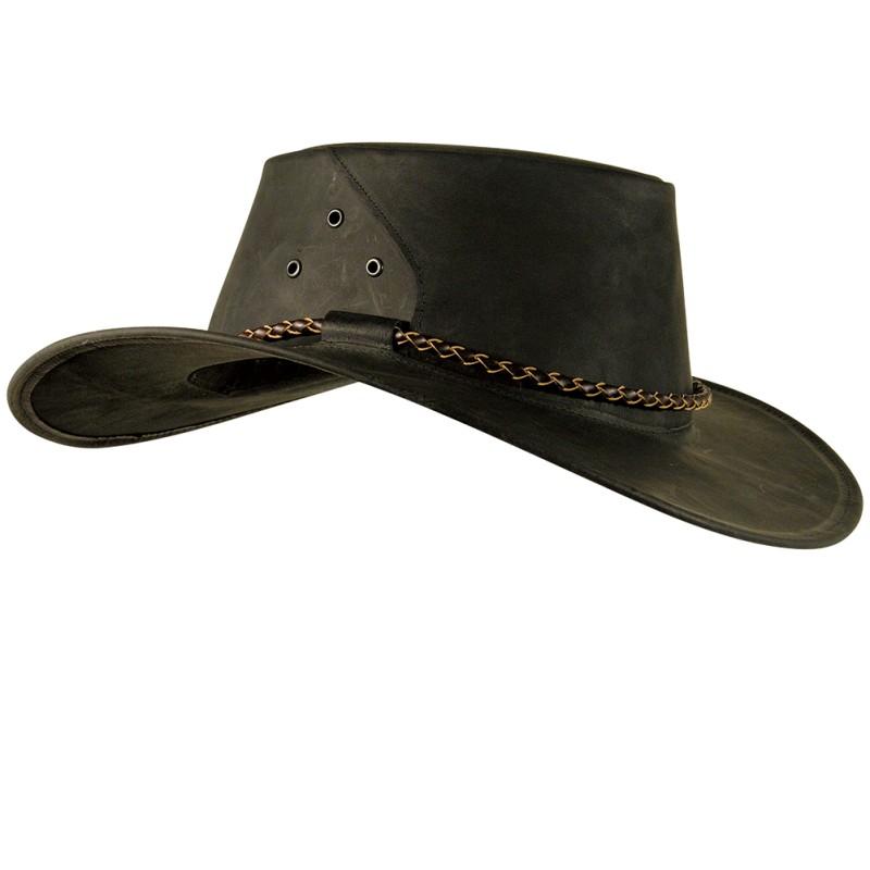 1ead8539c3a THE ROO Charcoal australský kožený klobouk - australské klobouky ...