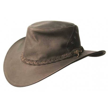 DARWIN Black australský kožený klobouk